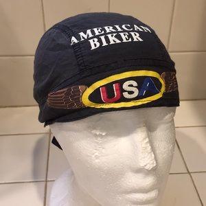 American Biker under helmet hat